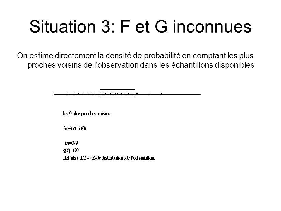 Situation 3: F et G inconnues On estime directement la densité de probabilité en comptant les plus proches voisins de l observation dans les échantillons disponibles