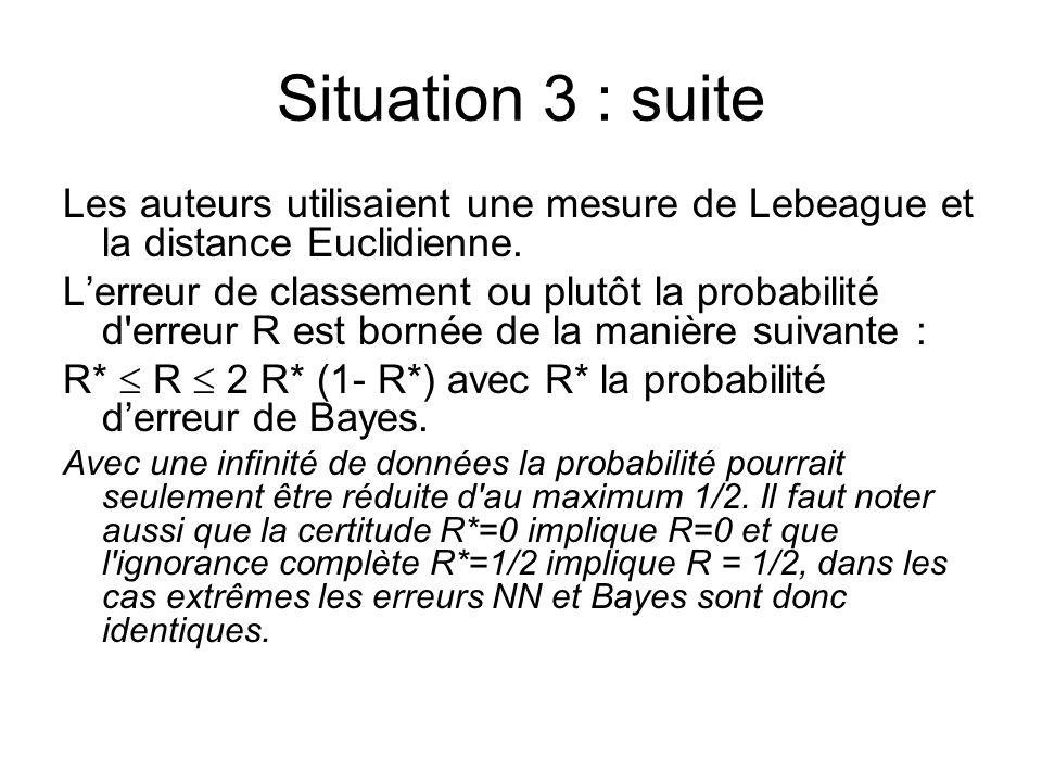 Situation 3 : suite Les auteurs utilisaient une mesure de Lebeague et la distance Euclidienne. Lerreur de classement ou plutôt la probabilité d'erreur
