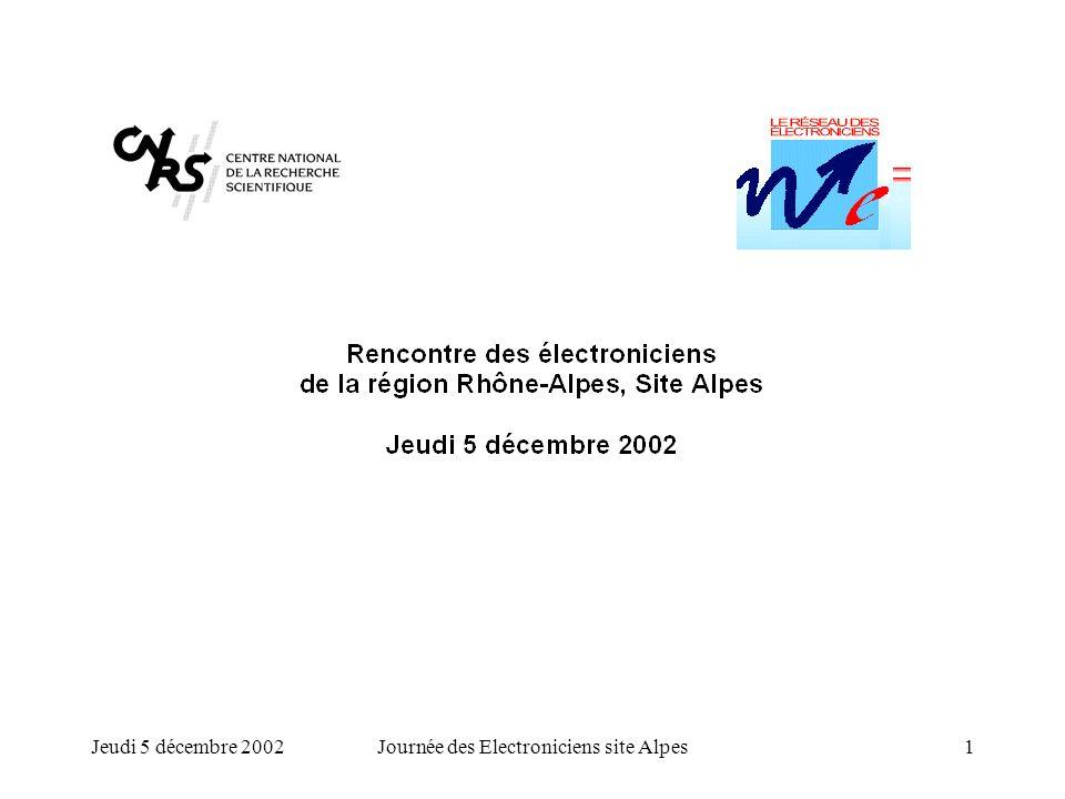 Jeudi 5 décembre 2002Journée des Electroniciens site Alpes1