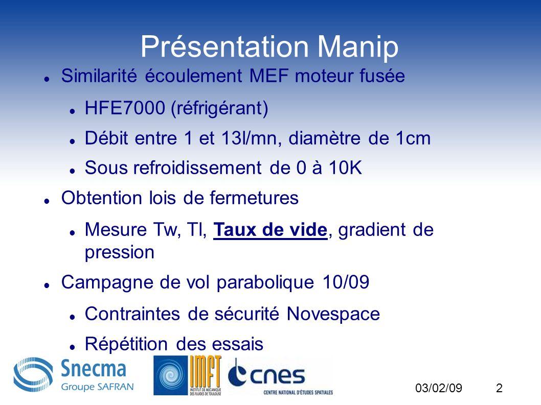 2 Présentation Manip Similarité écoulement MEF moteur fusée HFE7000 (réfrigérant) Débit entre 1 et 13l/mn, diamètre de 1cm Sous refroidissement de 0 à