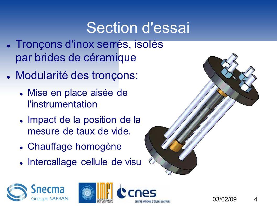 5 Instrumentation de la SE Tw tout les 1cm (e=0.1°C) Tl tout les 2cm: minimiser la perturbation (e=0.1°C) Taux de vide en entrée et sortie (e=10%) Gradient de pression entrée/sortie (e=10pa) 03/02/09