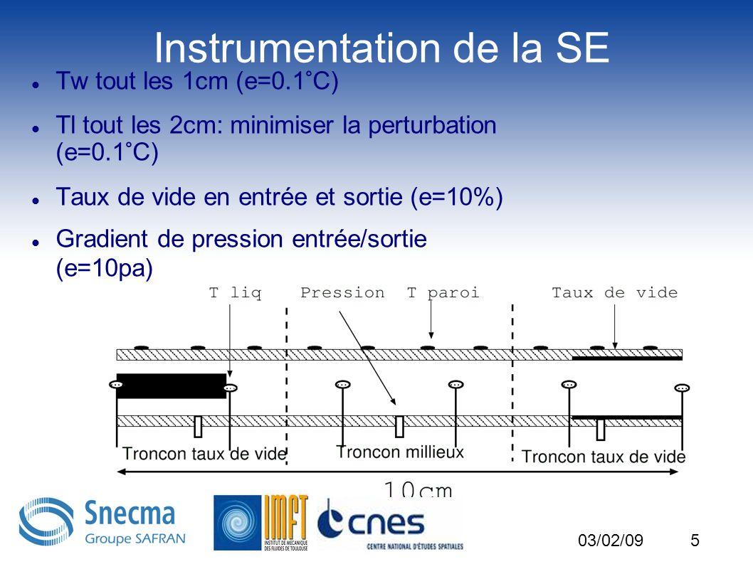 5 Instrumentation de la SE Tw tout les 1cm (e=0.1°C) Tl tout les 2cm: minimiser la perturbation (e=0.1°C) Taux de vide en entrée et sortie (e=10%) Gra