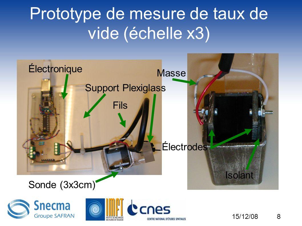 8 Prototype de mesure de taux de vide (échelle x3) Électronique Fils Sonde (3x3cm) Électrodes Isolant Masse Support Plexiglass 15/12/08