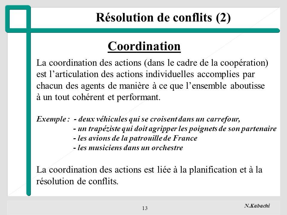 N.Kabachi 13 Résolution de conflits (2) Coordination La coordination des actions (dans le cadre de la coopération) est larticulation des actions individuelles accomplies par chacun des agents de manière à ce que lensemble aboutisse à un tout cohérent et performant.