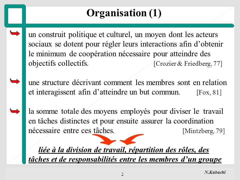 N.Kabachi 2 Organisation (1) un construit politique et culturel, un moyen dont les acteurs sociaux se dotent pour régler leurs interactions afin dobtenir le minimum de coopération nécessaire pour atteindre des objectifs collectifs.
