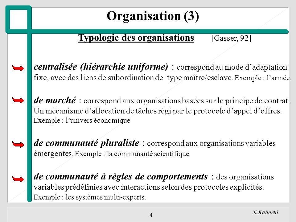 N.Kabachi 4 Organisation (3) Typologie des organisations [Gasser, 92] centralisée (hiérarchie uniforme) : correspond au mode dadaptation fixe, avec des liens de subordination de type maître/esclave.