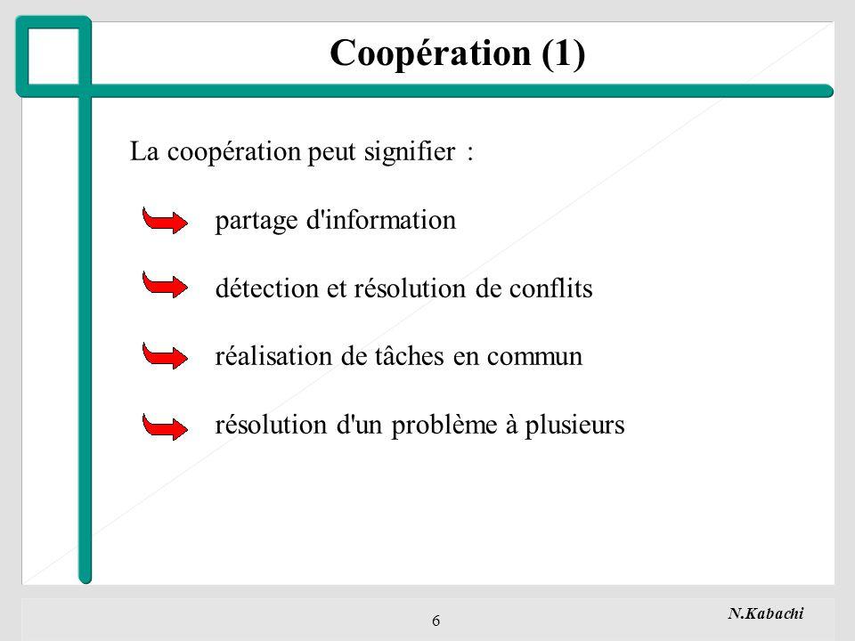 N.Kabachi 6 La coopération peut signifier : partage d information détection et résolution de conflits réalisation de tâches en commun résolution d un problème à plusieurs Coopération (1)