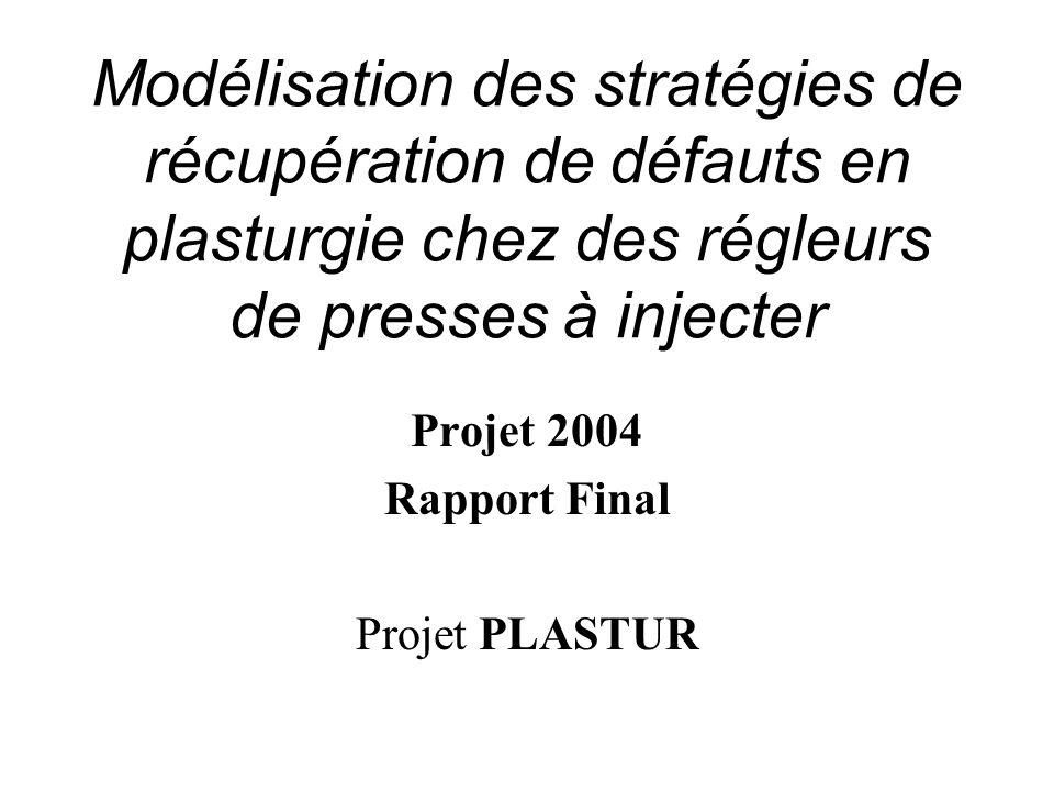 Modélisation des stratégies de récupération de défauts en plasturgie chez des régleurs de presses à injecter Projet 2004 Rapport Final Projet PLASTUR