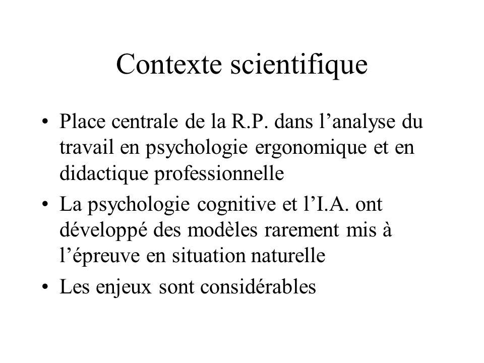 Contexte scientifique Place centrale de la R.P. dans lanalyse du travail en psychologie ergonomique et en didactique professionnelle La psychologie co