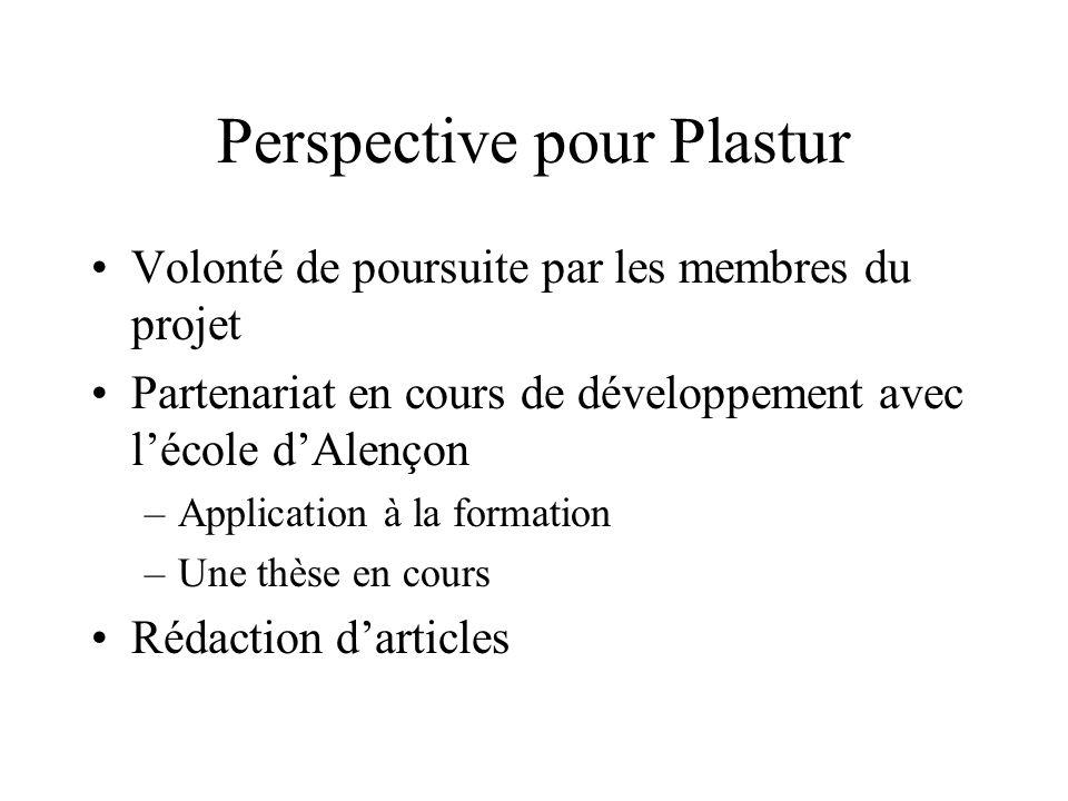 Perspective pour Plastur Volonté de poursuite par les membres du projet Partenariat en cours de développement avec lécole dAlençon –Application à la f