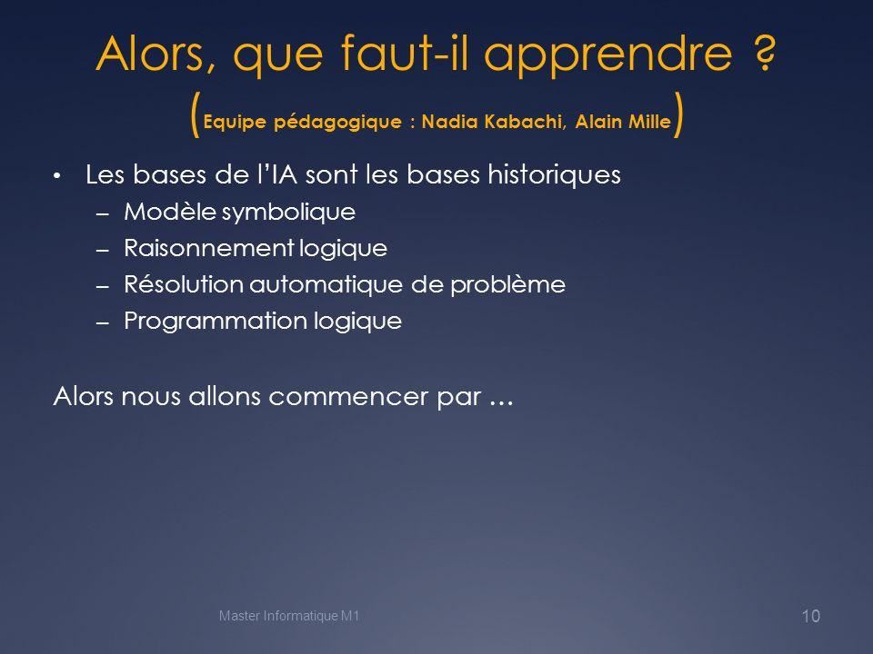Résolution automatique de problème (Alain Mille) Recherche de solution dans un espace détats Améliorations « heuristiques » – Algorithme A* – Le cas particulier des graphes « et-ou » (hypergraphe pour certains) – (plus tard) programmation de ces algorithmes Master Informatique M1 11