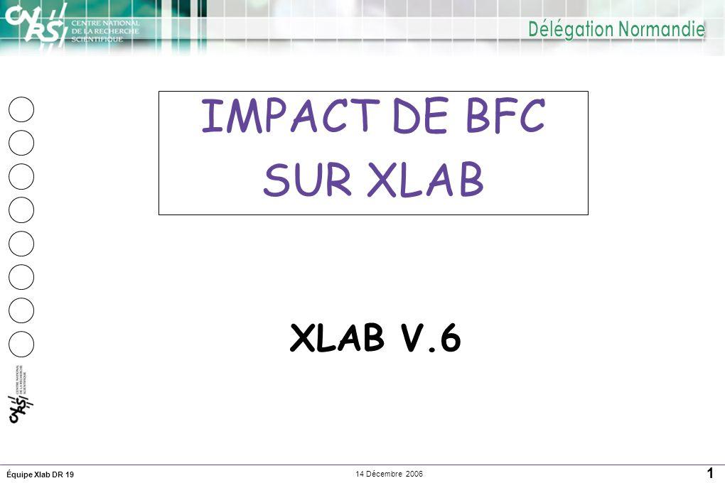 Équipe Xlab DR 19 1 14 Décembre 2006 XLAB V.6 IMPACT DE BFC SUR XLAB