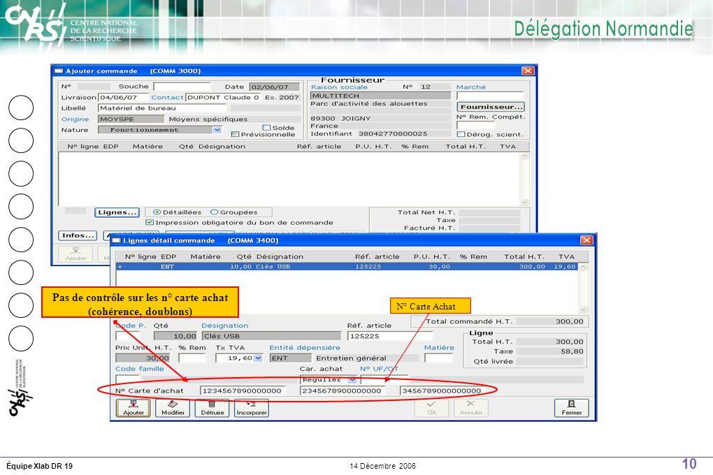 10 14 Décembre 2006Équipe Xlab DR 19 Pas de contrôle sur les n° carte achat (cohérence, doublons) N° Carte Achat