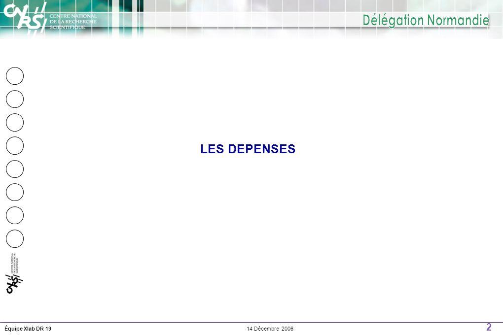 2 14 Décembre 2006Équipe Xlab DR 19 LES DEPENSES