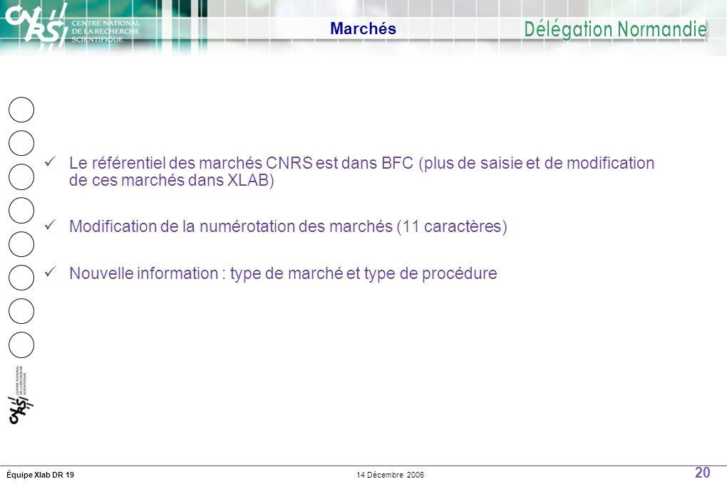 20 14 Décembre 2006Équipe Xlab DR 19 Marchés Le référentiel des marchés CNRS est dans BFC (plus de saisie et de modification de ces marchés dans XLAB) Modification de la numérotation des marchés (11 caractères) Nouvelle information : type de marché et type de procédure