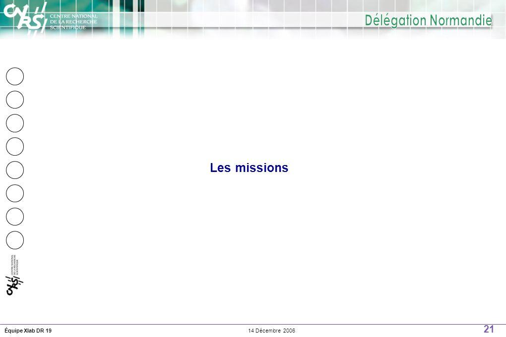 21 14 Décembre 2006Équipe Xlab DR 19 Les missions