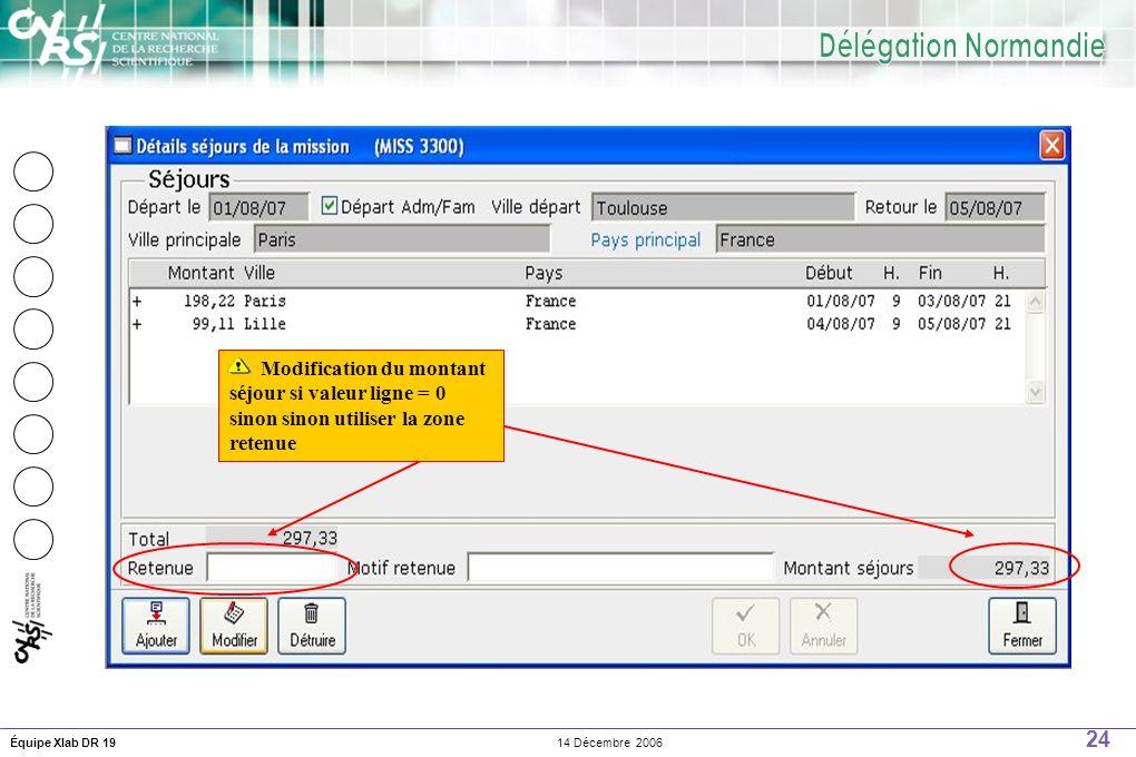 24 14 Décembre 2006Équipe Xlab DR 19 Modification du montant séjour si valeur ligne = 0 sinon sinon utiliser la zone retenue