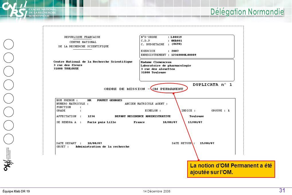31 14 Décembre 2006Équipe Xlab DR 19 La notion dOM Permanent a été ajoutée sur lOM.