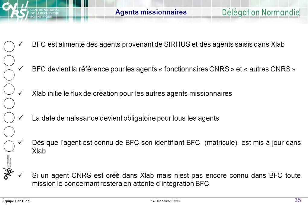 35 14 Décembre 2006Équipe Xlab DR 19 Agents missionnaires BFC est alimenté des agents provenant de SIRHUS et des agents saisis dans Xlab BFC devient la référence pour les agents « fonctionnaires CNRS » et « autres CNRS » Xlab initie le flux de création pour les autres agents missionnaires La date de naissance devient obligatoire pour tous les agents Dés que lagent est connu de BFC son identifiant BFC (matricule) est mis à jour dans Xlab Si un agent CNRS est créé dans Xlab mais nest pas encore connu dans BFC toute mission le concernant restera en attente dintégration BFC