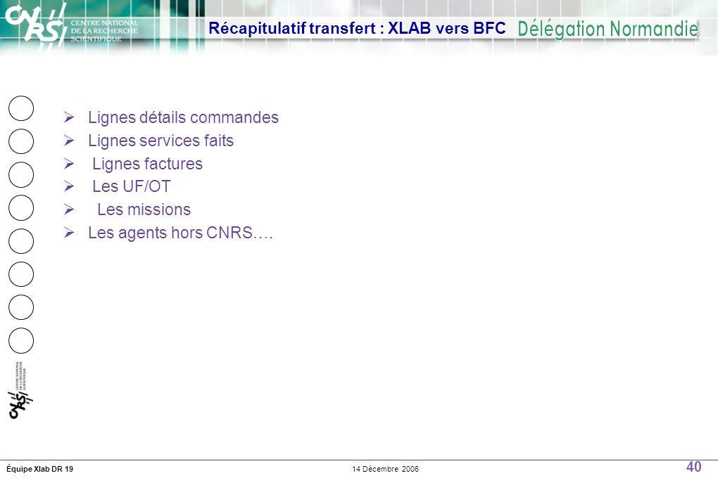 40 14 Décembre 2006Équipe Xlab DR 19 Récapitulatif transfert : XLAB vers BFC Lignes détails commandes Lignes services faits Lignes factures Les UF/OT Les missions Les agents hors CNRS….