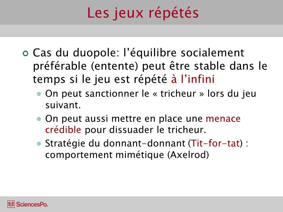 Les jeux répétés Cas du duopole: léquilibre socialement préférable (entente) peut être stable dans le temps si le jeu est répété à linfini On peut san