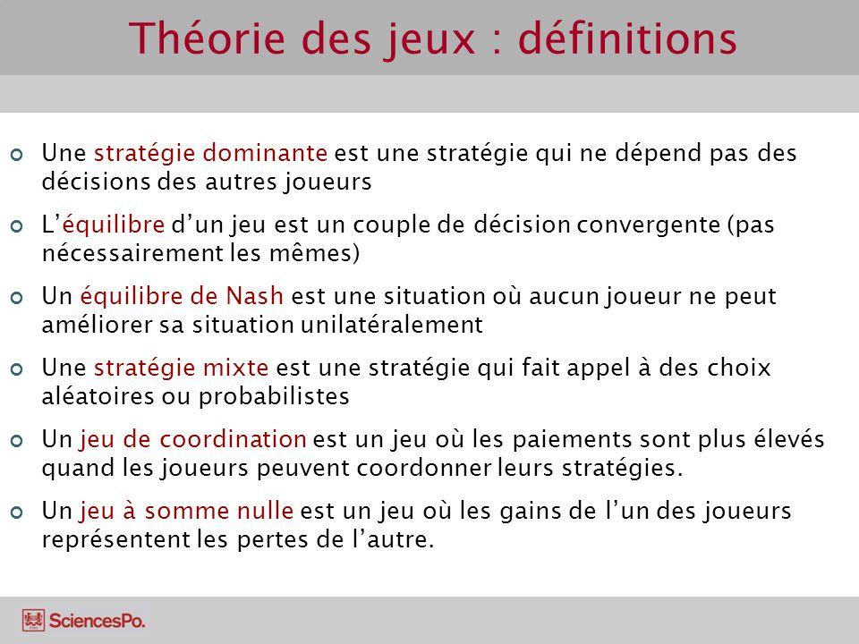 Théorie des jeux : définitions Une stratégie dominante est une stratégie qui ne dépend pas des décisions des autres joueurs Léquilibre dun jeu est un