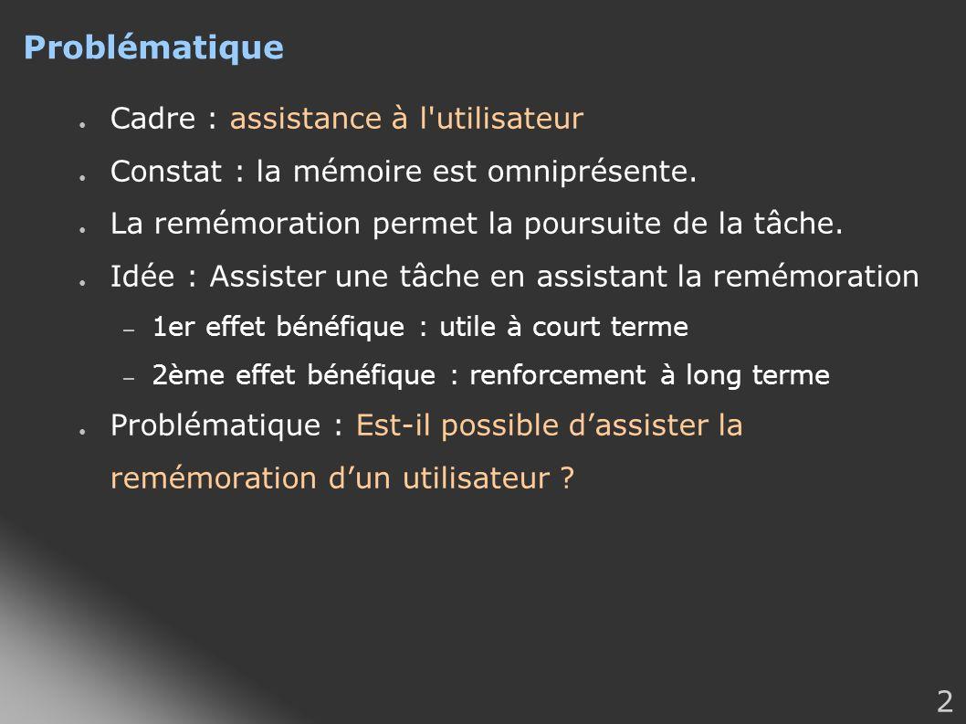 2 Problématique Cadre : assistance à l'utilisateur Constat : la mémoire est omniprésente. La remémoration permet la poursuite de la tâche. Idée : Assi