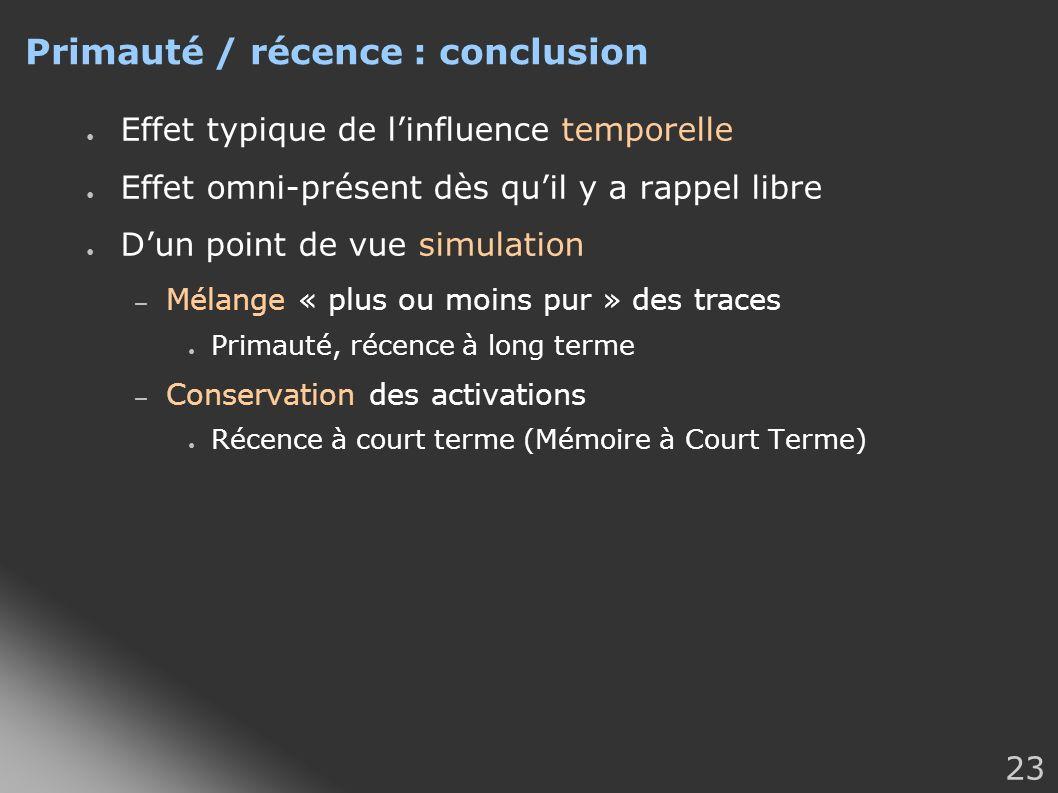 23 Primauté / récence : conclusion Effet typique de linfluence temporelle Effet omni-présent dès quil y a rappel libre Dun point de vue simulation – M