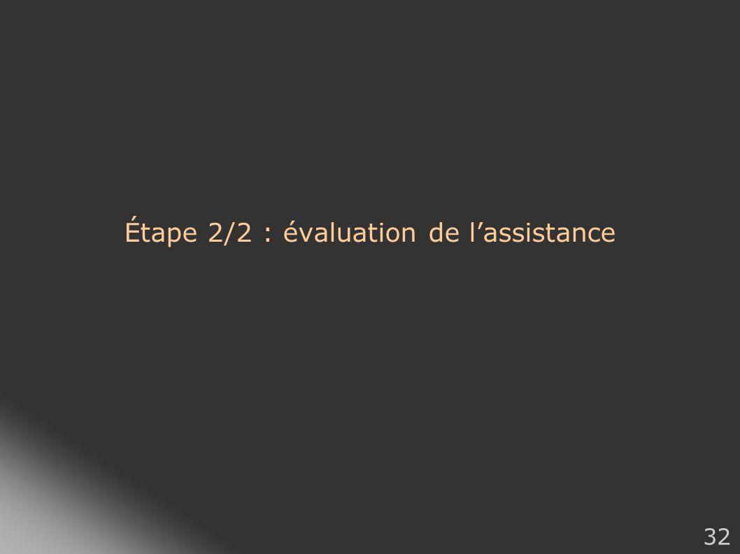 32 Étape 2/2 : évaluation de lassistance