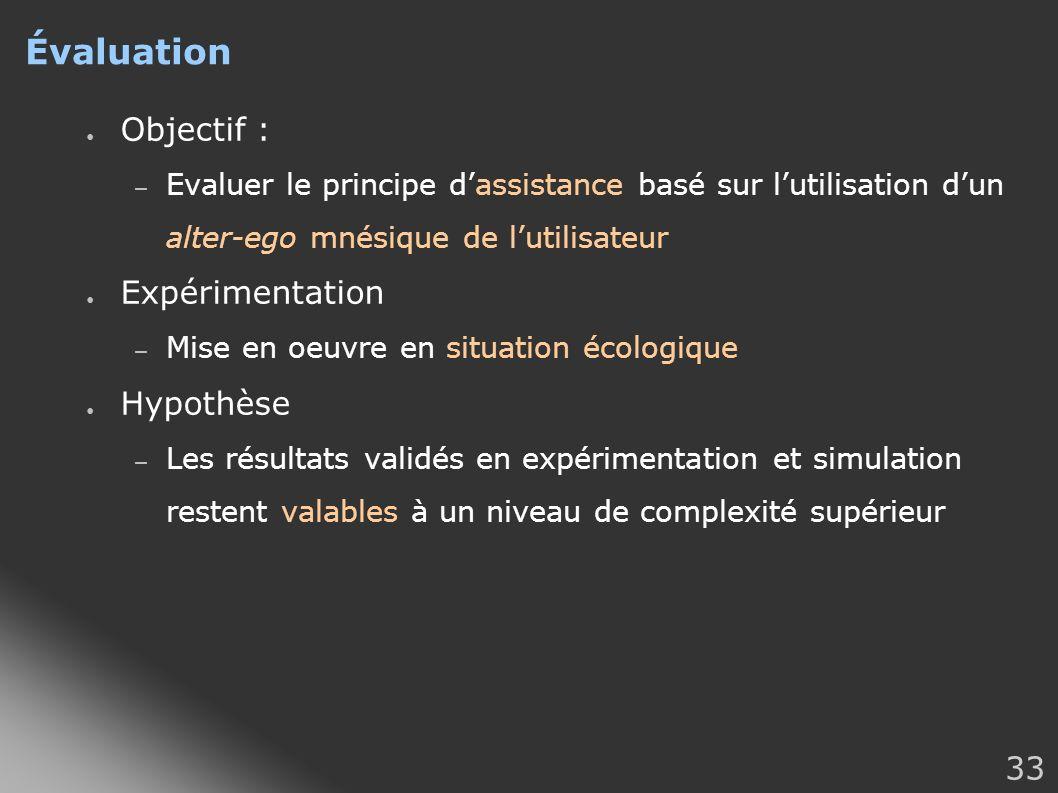 33 Évaluation Objectif : – Evaluer le principe dassistance basé sur lutilisation dun alter-ego mnésique de lutilisateur Expérimentation – Mise en oeuv