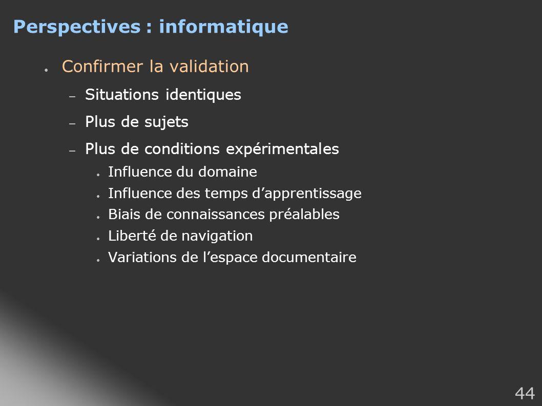 44 Perspectives : informatique Confirmer la validation – Situations identiques – Plus de sujets – Plus de conditions expérimentales Influence du domai