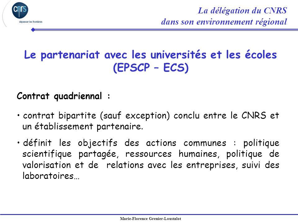 Marie-Florence Grenier-Loustalot Contrat quadriennal : contrat bipartite (sauf exception) conclu entre le CNRS et un établissement partenaire. définit