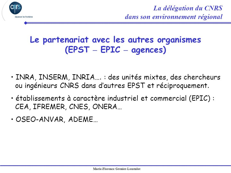 Marie-Florence Grenier-Loustalot Le partenariat avec les autres organismes (EPST – EPIC – agences) INRA, INSERM, INRIA…. : des unités mixtes, des cher