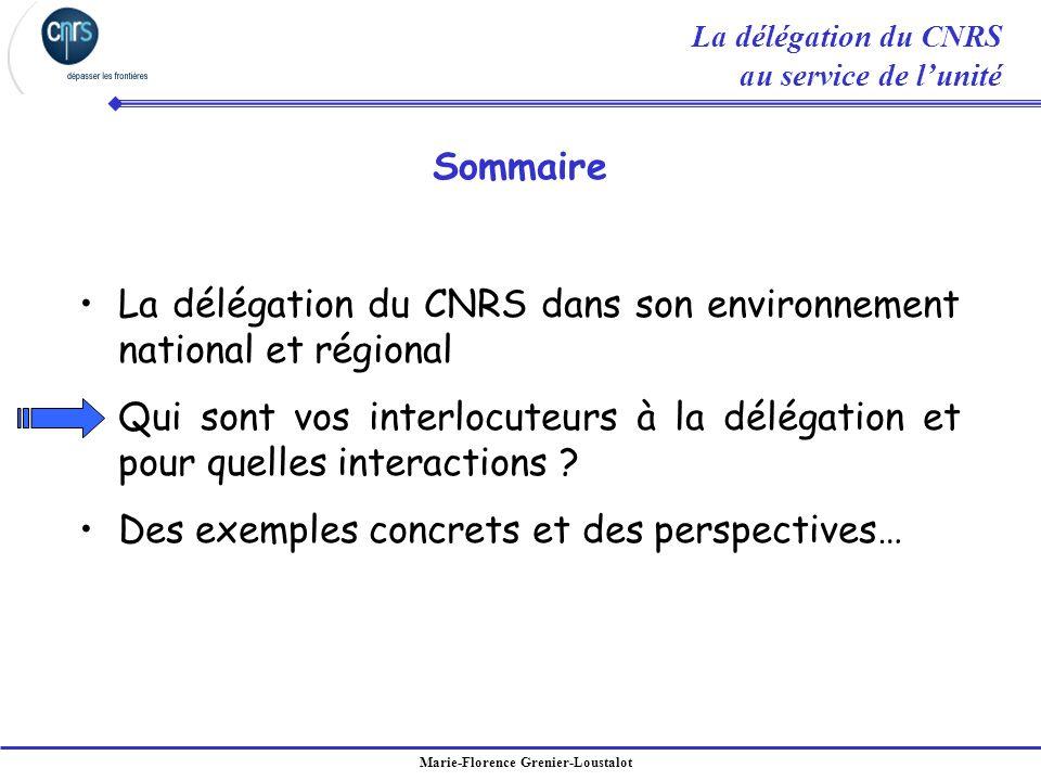 Marie-Florence Grenier-Loustalot La délégation du CNRS dans son environnement national et régional Qui sont vos interlocuteurs à la délégation et pour