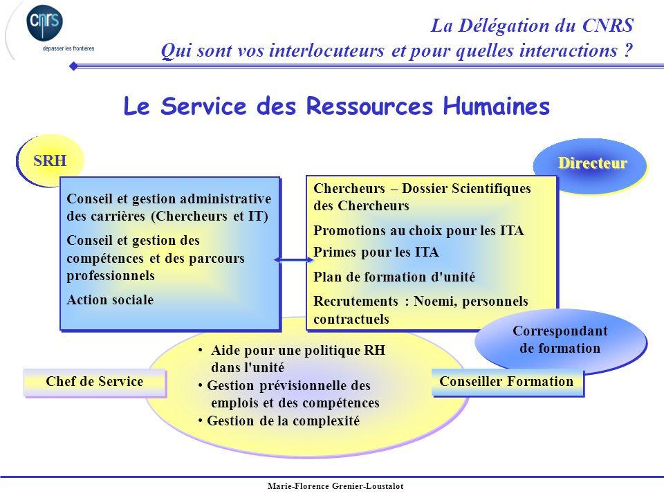 Marie-Florence Grenier-Loustalot Le Service des Ressources Humaines Directeur Aide pour une politique RH dans l'unité Gestion prévisionnelle des emplo