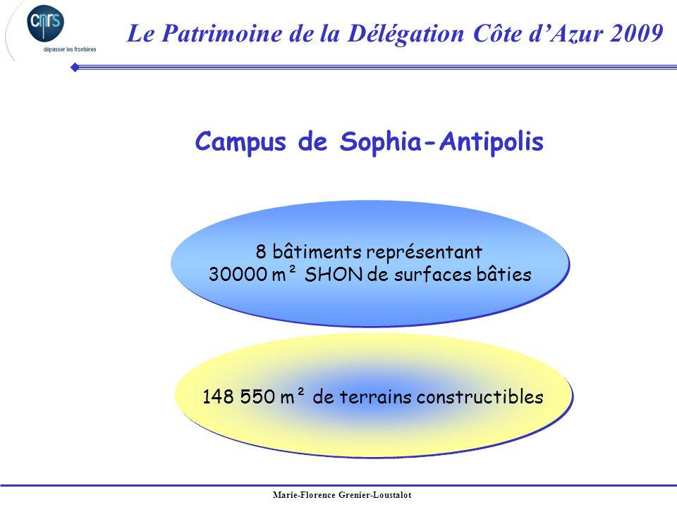 Marie-Florence Grenier-Loustalot Le Patrimoine de la Délégation Côte dAzur 2009 Campus de Sophia-Antipolis 8 bâtiments représentant 30000 m² SHON de s