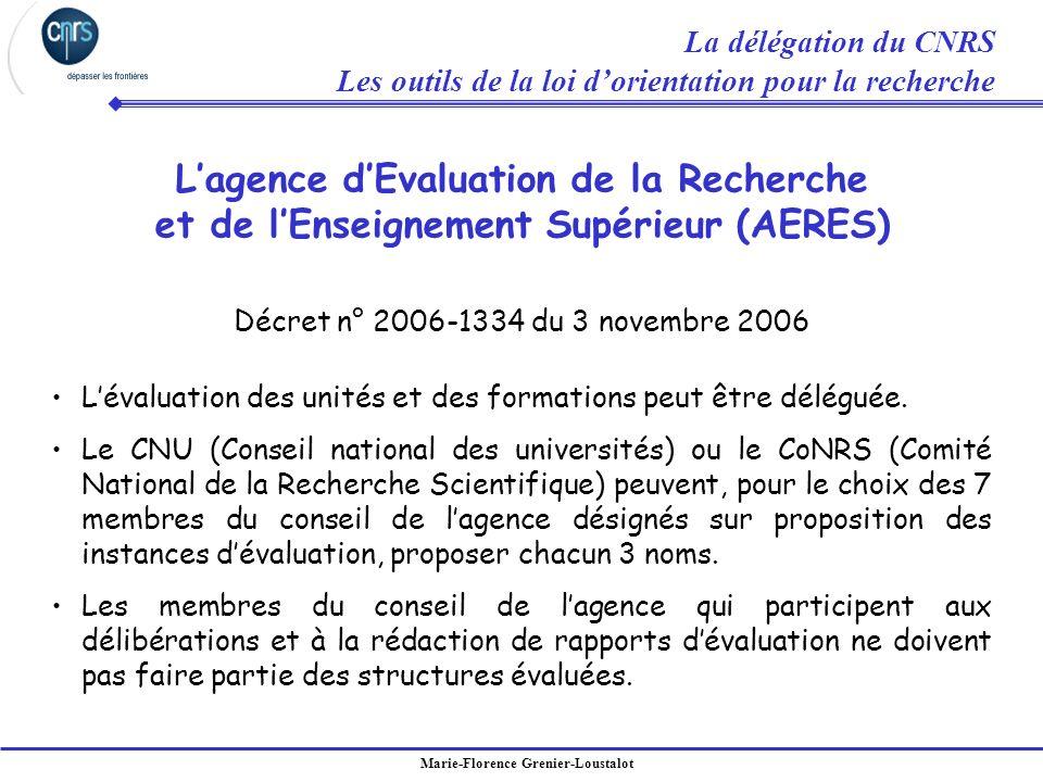 Marie-Florence Grenier-Loustalot Décret n° 2006-1334 du 3 novembre 2006 Lévaluation des unités et des formations peut être déléguée. Le CNU (Conseil n