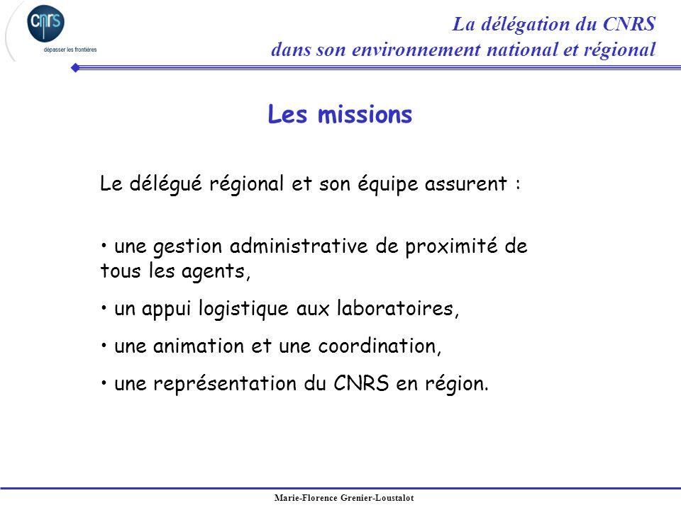 Marie-Florence Grenier-Loustalot Le délégué régional et son équipe assurent : une gestion administrative de proximité de tous les agents, un appui log