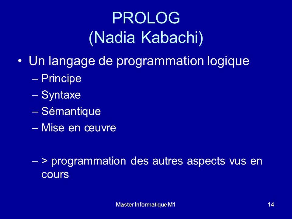 Master Informatique M114 PROLOG (Nadia Kabachi) Un langage de programmation logique –Principe –Syntaxe –Sémantique –Mise en œuvre –> programmation des