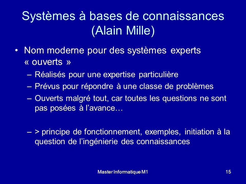Master Informatique M115 Systèmes à bases de connaissances (Alain Mille) Nom moderne pour des systèmes experts « ouverts » –Réalisés pour une expertis