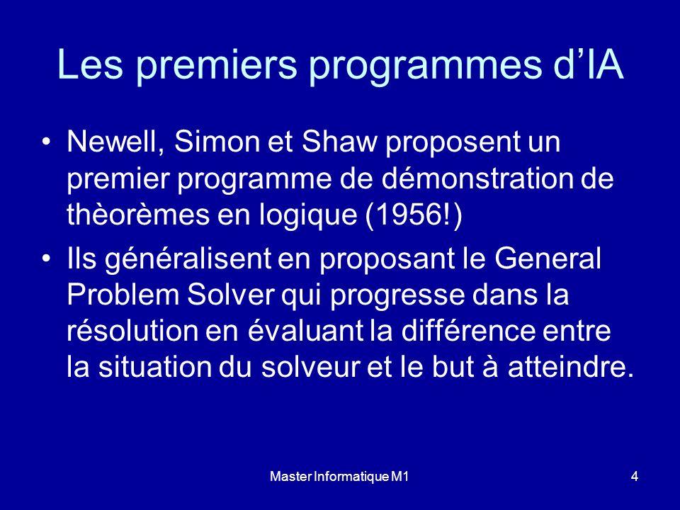Master Informatique M14 Les premiers programmes dIA Newell, Simon et Shaw proposent un premier programme de démonstration de thèorèmes en logique (195