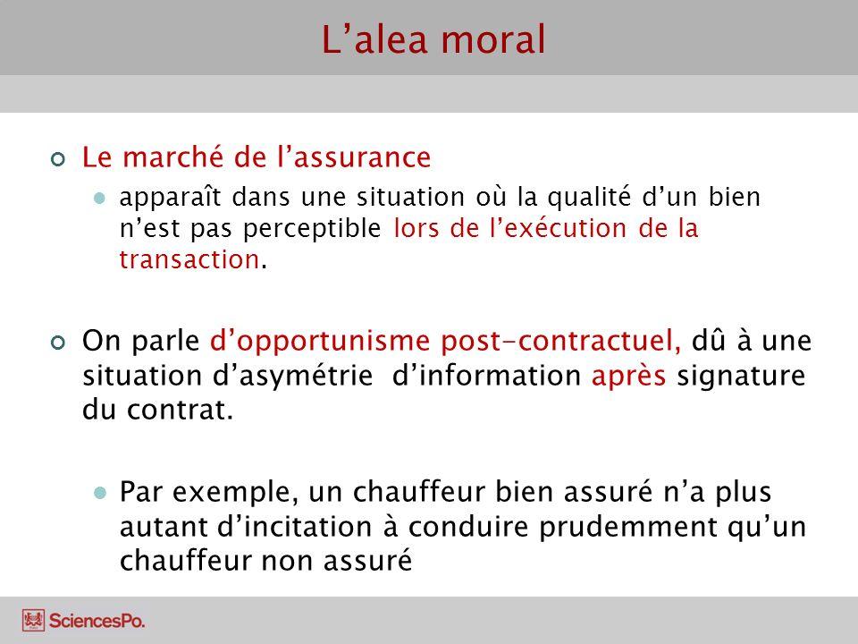 Lalea moral Le marché de lassurance apparaît dans une situation où la qualité dun bien nest pas perceptible lors de lexécution de la transaction. On p