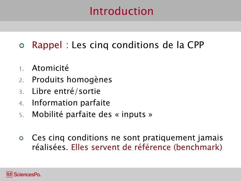 Introduction Rappel : Les cinq conditions de la CPP 1.