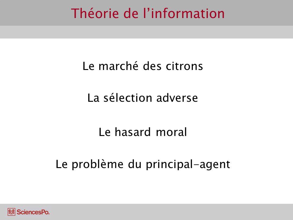 Théorie de linformation Le marché des citrons La sélection adverse Le hasard moral Le problème du principal-agent