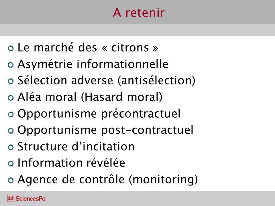 A retenir Le marché des « citrons » Asymétrie informationnelle Sélection adverse (antisélection) Aléa moral (Hasard moral) Opportunisme précontractuel
