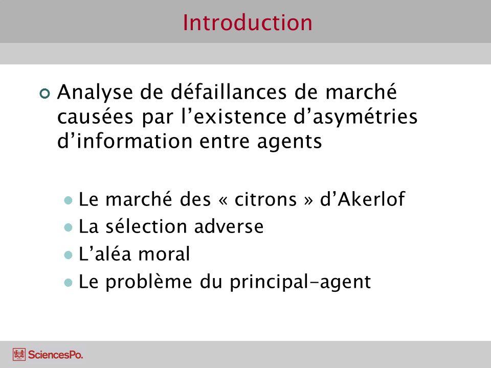 Introduction Analyse de défaillances de marché causées par lexistence dasymétries dinformation entre agents Le marché des « citrons » dAkerlof La séle