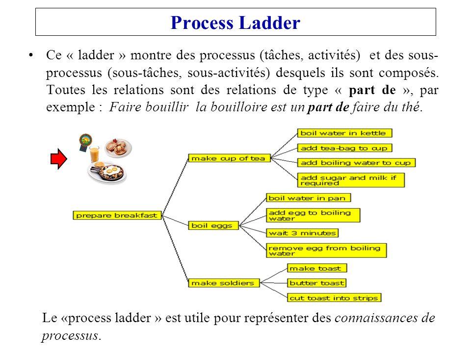 Process Ladder Ce « ladder » montre des processus (tâches, activités) et des sous- processus (sous-tâches, sous-activités) desquels ils sont composés.
