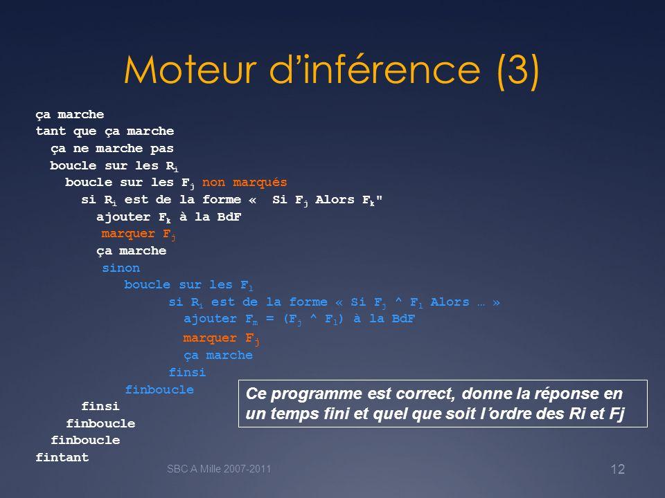 Moteur dinférence (3) SBC A Mille 2007-2011 12 ça marche tant que ça marche ça ne marche pas boucle sur les R i boucle sur les F j non marqués si R i