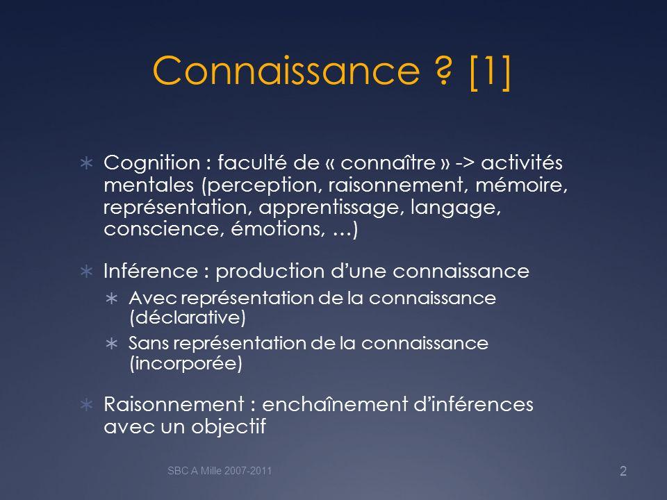Connaissance ? [1] Cognition : faculté de « connaître » -> activités mentales (perception, raisonnement, mémoire, représentation, apprentissage, langa