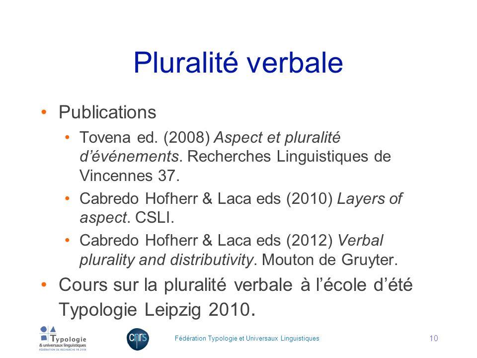 Pluralité verbale Publications Tovena ed. (2008) Aspect et pluralité dévénements. Recherches Linguistiques de Vincennes 37. Cabredo Hofherr & Laca eds